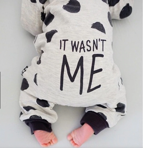 It Wasn't Me Long Sleeve Polka Dotted Romper Jumpsuit
