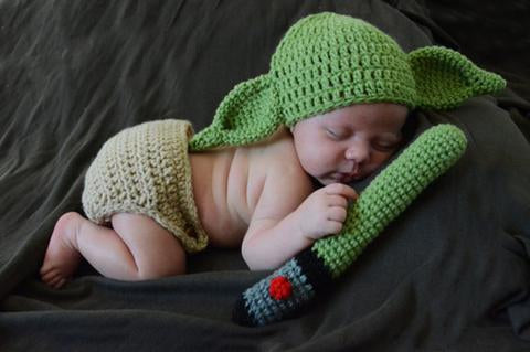 YODA Style Knitted Baby hat light saber and Pants Newborn Photo Props star wars