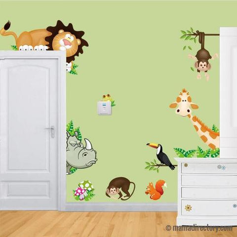DIY Cute Jungle Wild Animals Wall Art Decals Kids Bedroom Baby Nursery Stickers Decor