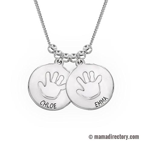 Customized Name Necklace for Mothers with Baby Handprint - Family Jewelry Custom Made