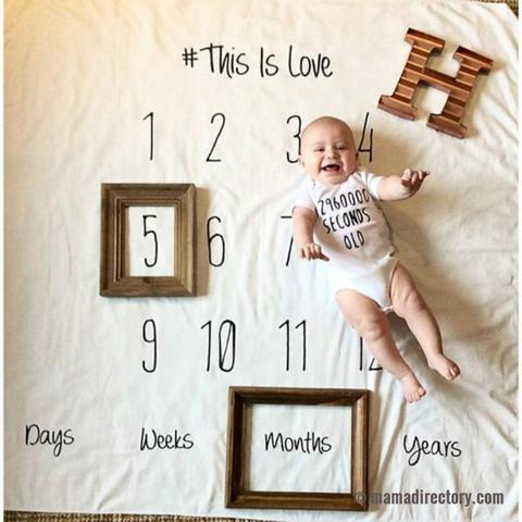 'Month by Month' Numbers/Letters Blanket for keepsake photography