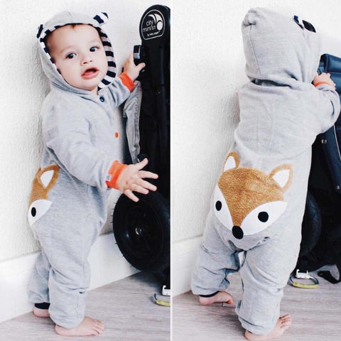 hooded striped fox long sleeve romper jumpsuit