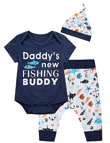 'Daddy's New Fishing Buddy' 3pcs Short Sleeve Romper Onesie, Anchor Pants & Hat