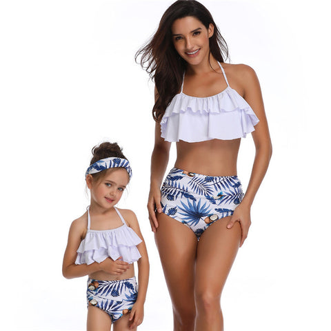 Blue Tropical Matching Mother & Daughter Swimsuits