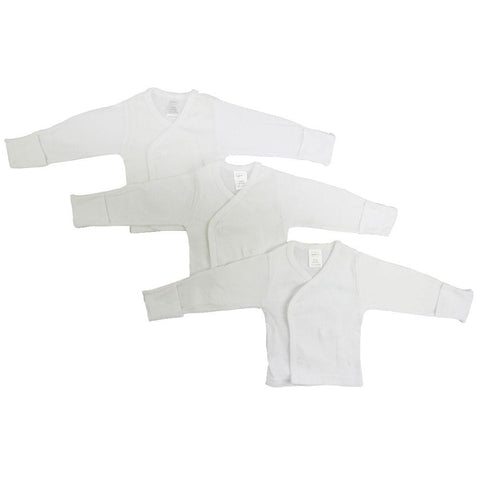 Preemie Long Sleeve Side Snap With Mitten  - 3 Pack