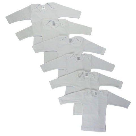 White Long Sleeve Lap T-shirts - 6 Pack