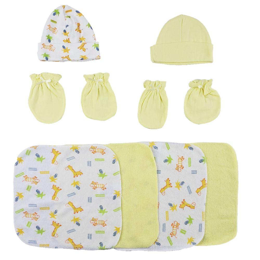 Caps, Mittens and Washcloths - 8 Pc Set Newborn