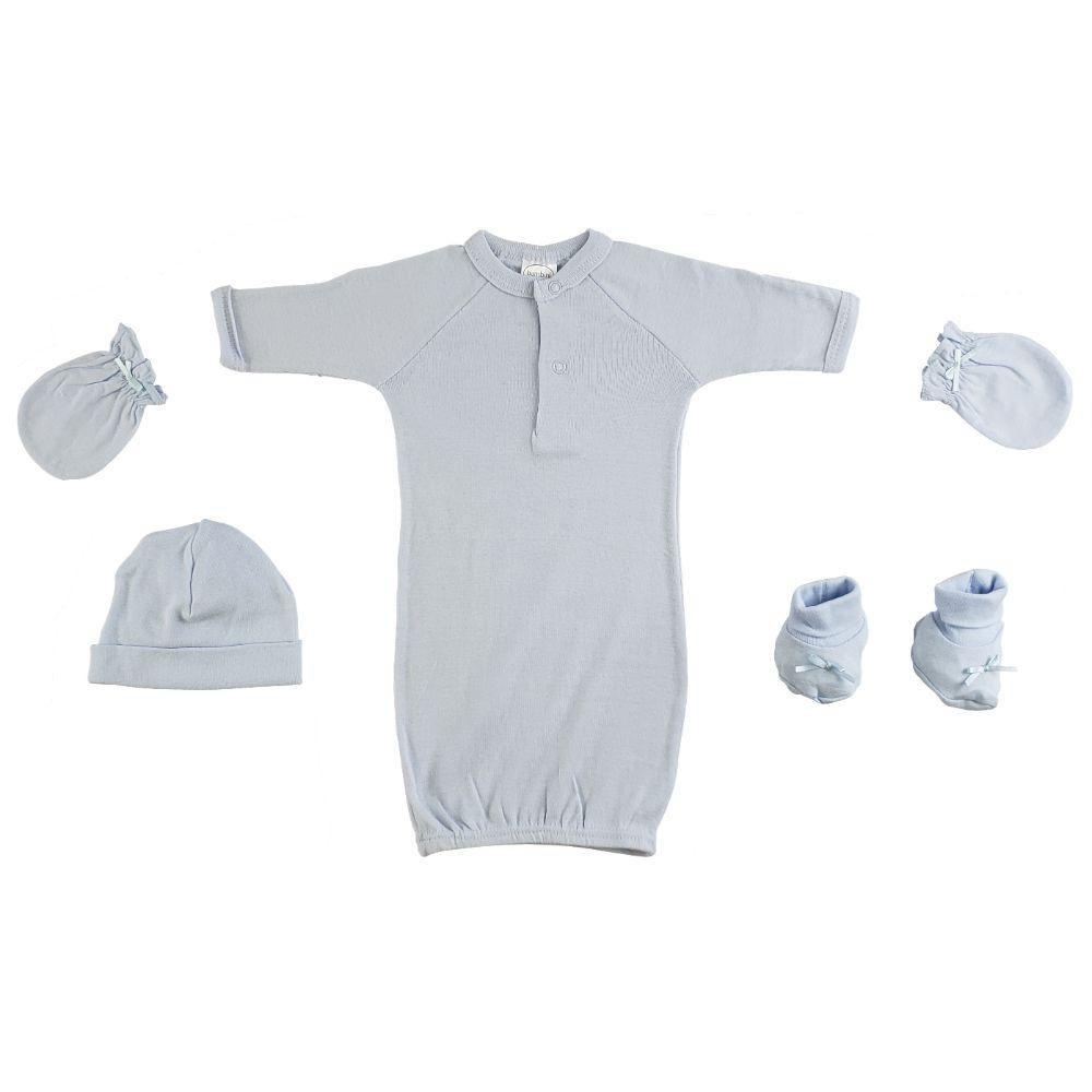 Preemie Gown, Cap, Mittens and Booties - 4 Pc Set