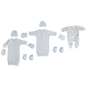 Preemie Boys Gowns, Sleep-n-Play, Caps, Mittens and Booties - 8 Pc Set Preemie