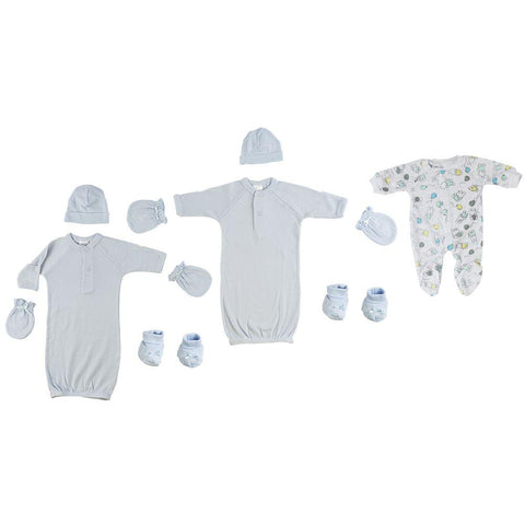 Preemie Boys Gowns, Sleep-n-Play, Caps, Mittens and Booties - 8 Pc Set