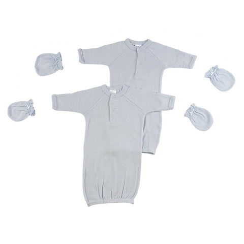 Preemie Boys Gowns and MIttens Preemie