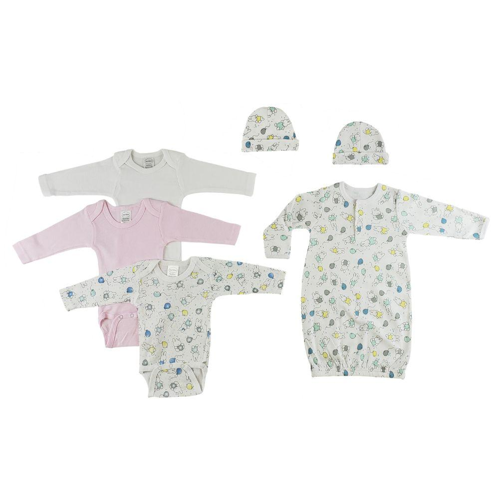 Gown, Onesies and Caps - 6 Pc Set Newborn