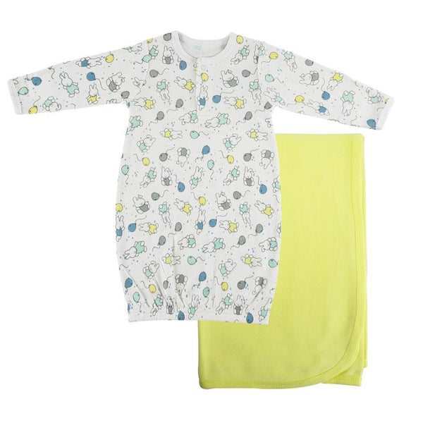 Print Infant Gown and Recieving Yellow Blanket - Newborn