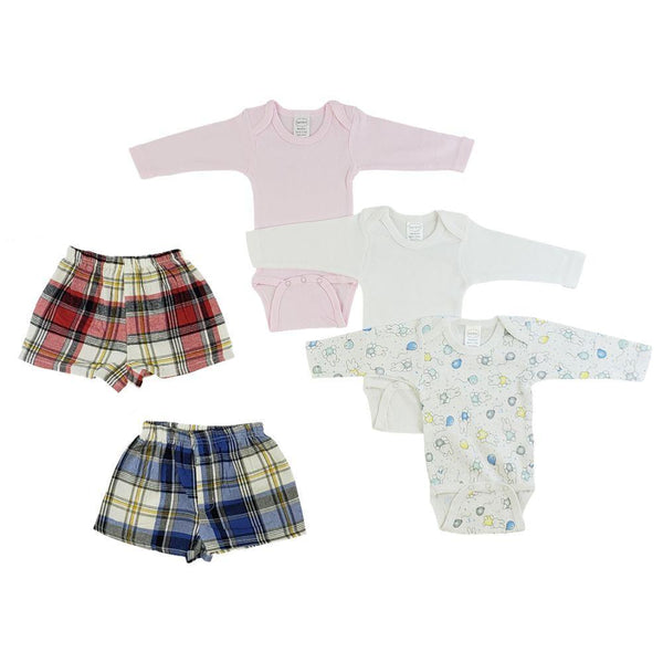 Infant Girls Long Sleeve Onesies and Boxer Shorts