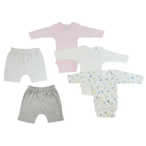 Pink/Bunny Print Infant Girls Long Sleeve Onesies and Shorts - 5 Pack
