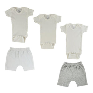 White/Gray Infant Onesies and Shorts - 5 Pack