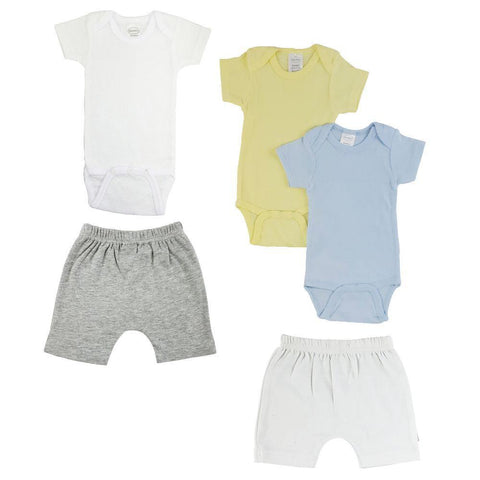 Yellow/Blue Infant Onesies and Shorts - 5 Pack
