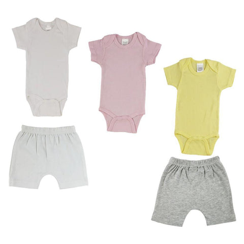 Yellow/Pink Infant Onesies and Shorts - 5 Pack
