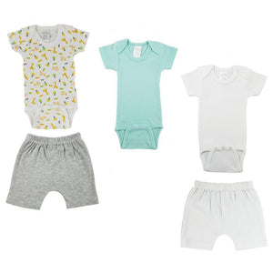 Teal/Animal Print Infant Onesies and Shorts - 5 Pack