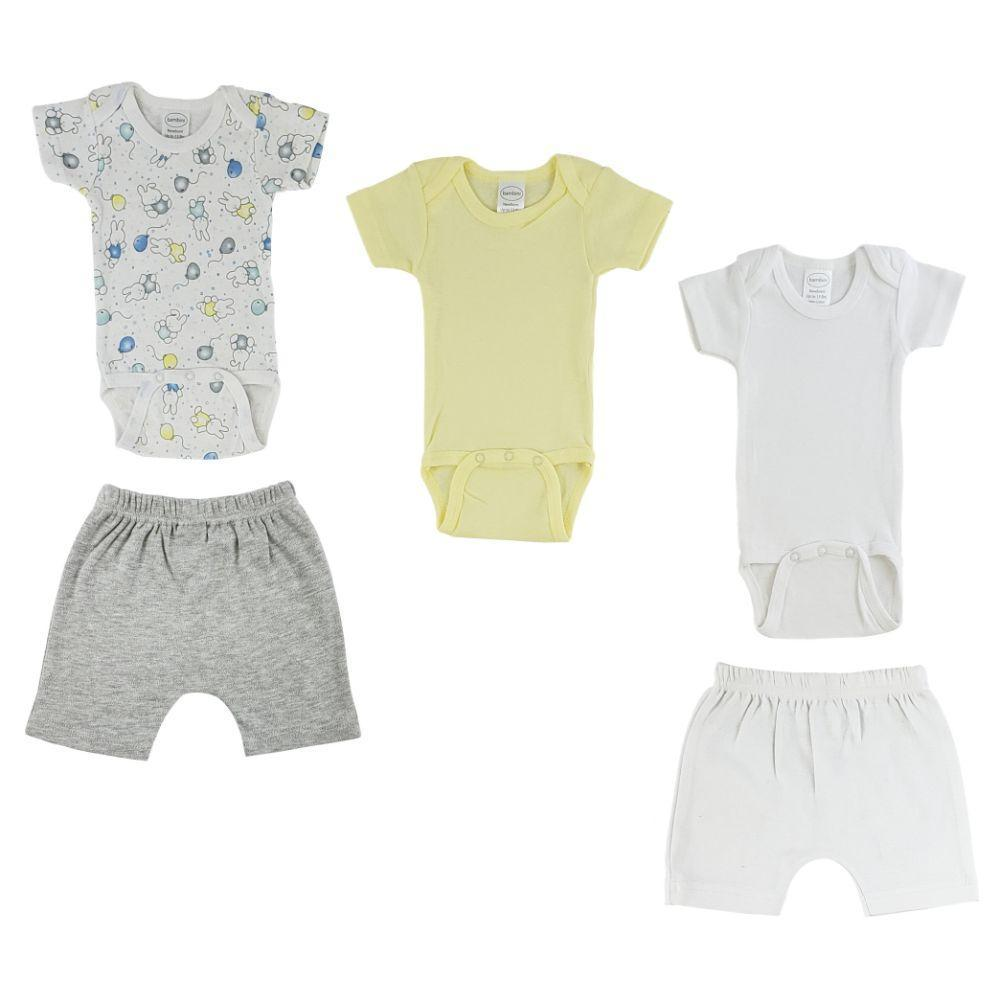 Yellow/Bunny Print Infant Onesies and Pants - 5 Pack