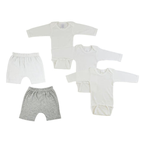 Infant Long Sleeve Onesies and Shorts - 5 Pack