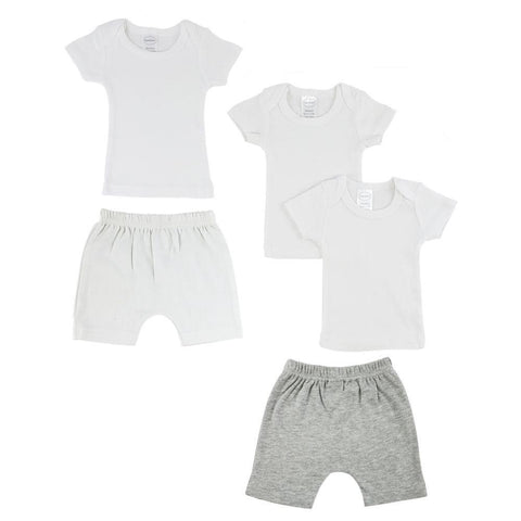 White/Gray Infant T-Shirts and Shorts - 5 Pack