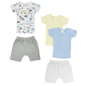 Infant Boys T-Shirts and Shorts with Animal Print - 5 Pack