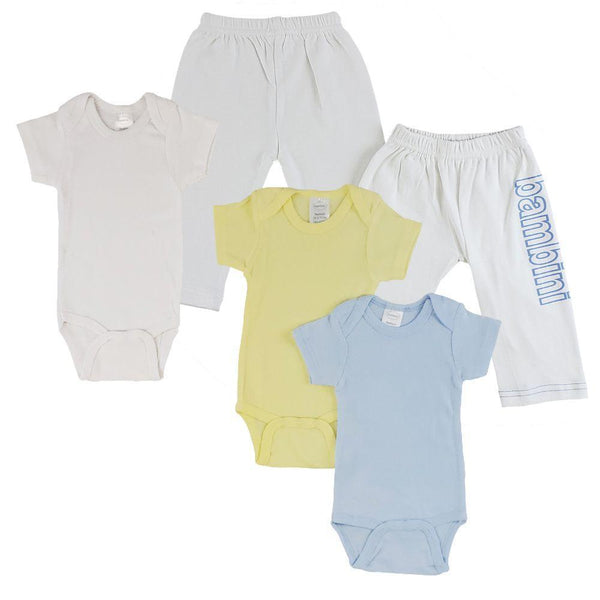 White Infant Onesies and Track Sweatpants - Yellow/Blue 5 Pack