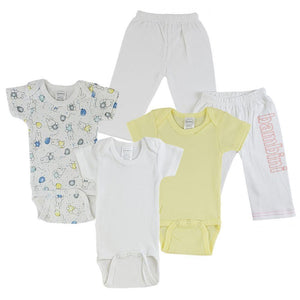 Yellow/Pink Infant Onesies and Track Sweatpants - 5 Pack