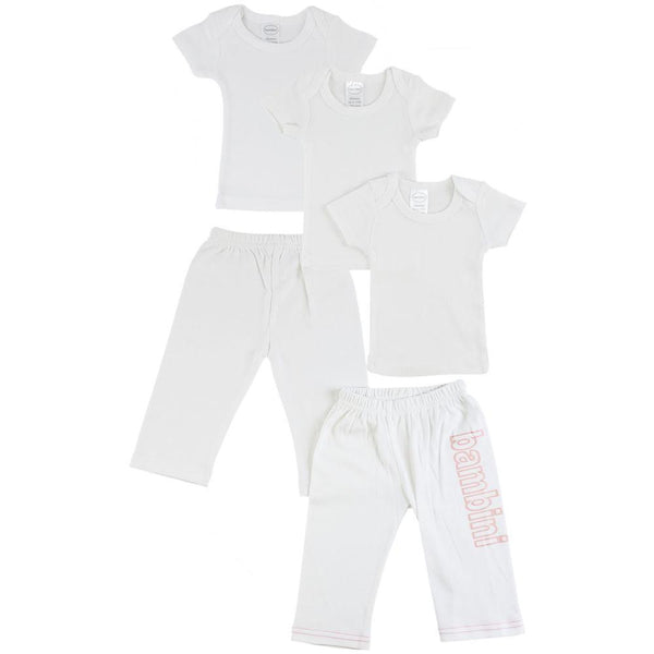 White Infant T-Shirts and Track Sweatpants - Pink 5 Pack