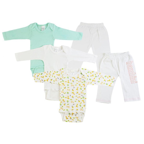 Nuetral Infant Long Sleeve Onesies and Track Sweatpants - 5 Pack
