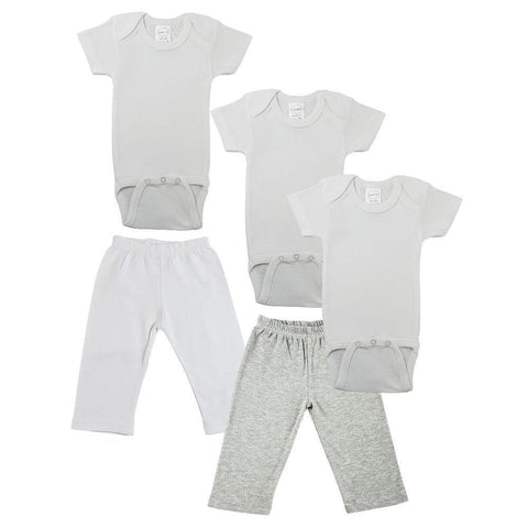 White/Gray Infant Onesies and Track Sweatpants - 5 Pack