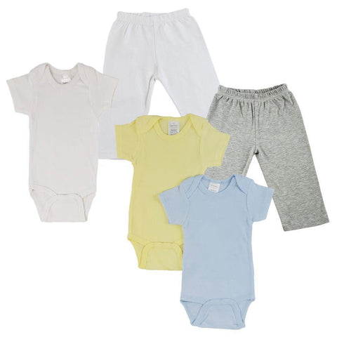 Yellow/Blue Infant Onesies and Track Sweatpants - 5 Pack