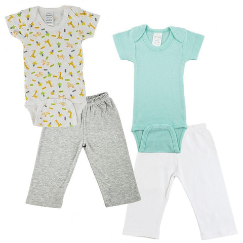 Teal/Animal Print Infant Onesies and Track Sweatpants - 5 Pack