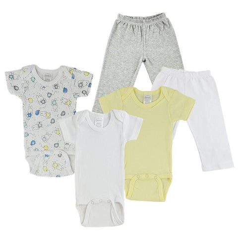 Yellow/Bunnies Print Infant Onesies and Track Sweatpants - 5 Pack