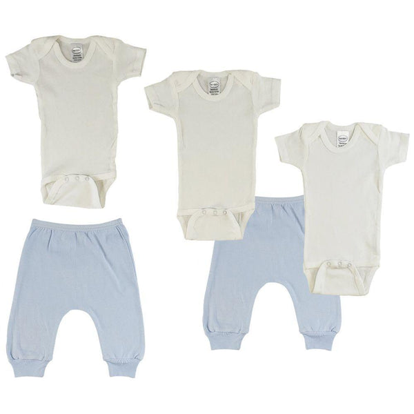 White Infant Short Sleeve Onesies and Blue Joggers - 5 Pack
