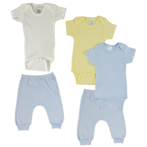 Yellow/Blue Infant Short Sleeve Onesies and Blue Joggers - 5 Pack