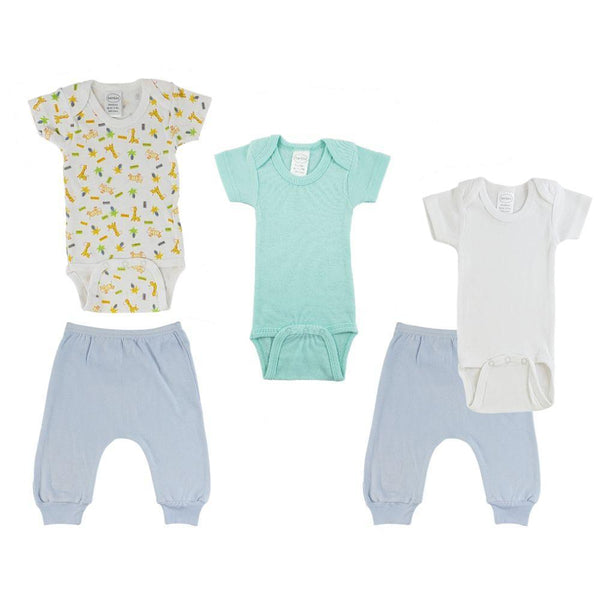 Teal/Animal Print Infant Short Sleeve Onesies and Blue Joggers - 5 Pack