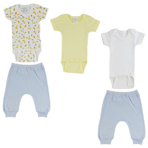 Yellow/Animal Print Infant Short Sleeve Onesies and Blue Joggers - 5 Pack