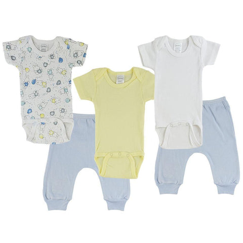 Yellow/Bunny Print Infant Short Sleeve Onesies and Blue Joggers - 5 Pack