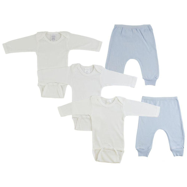 White Infant Long Sleeve Onesies and Blue Joggers - 5 Pack