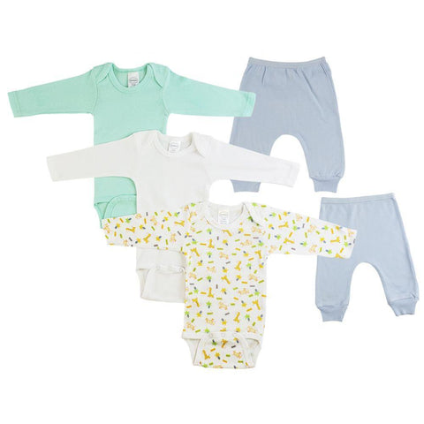 Infant Boys Long Sleeve Onesies and Blue Joggers - 5 Pack