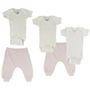 White Infant Short Sleeve Onesies and Pink Joggers - 5 Pack