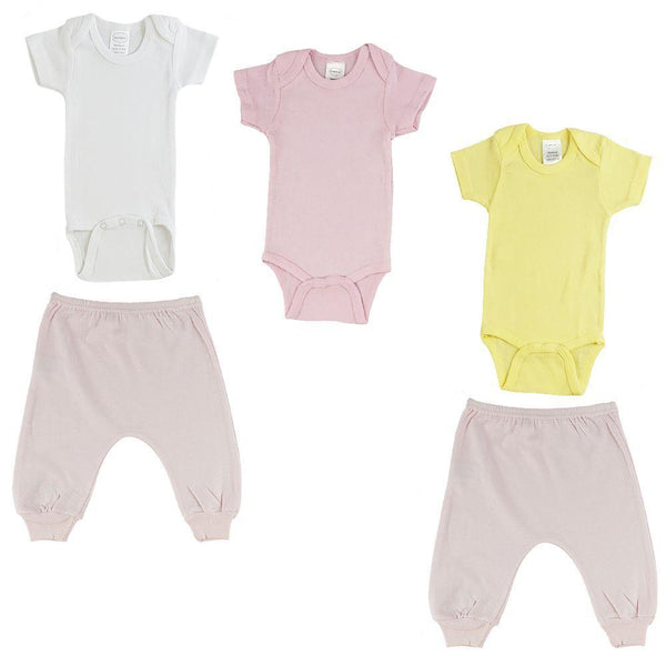Pink/Yellow Infant Short Sleeve Onesies and Pink Joggers - 5 Pack