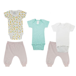 Teal/Animal Print Infant Short Sleeve Onesies and Pink Joggers - 5 Pack