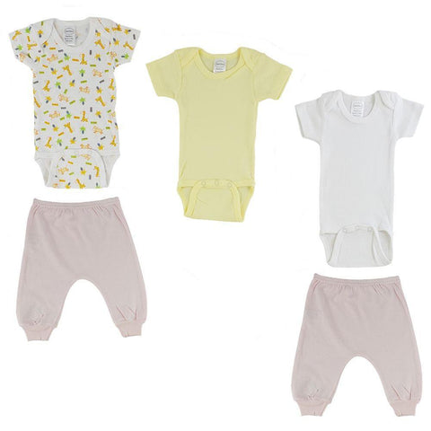 Yellow/Animal Print Infant Short Sleeve Onesies and Pink Joggers - 5 Pack