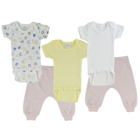 Yellow/Bunny Print Infant Short Sleeve Onesies and Pink Joggers - 5 Pack