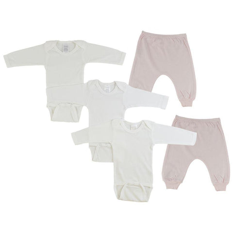 Infant Long Sleeve Onesies and Blue Joggers - 5 Pack