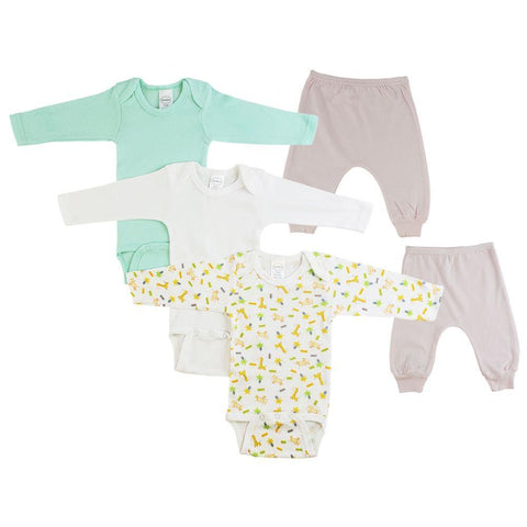 Teal/Animal Print Infant Girls Long Sleeve Onesies and Joggers - 5 Pack