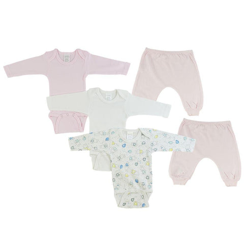 Pink/Bunny Print Infant Girls Long Sleeve Onesies and Joggers - 5 Pack